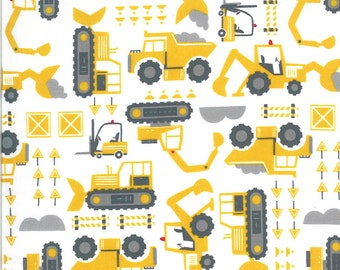 White Let's Build Fabric - On the Go - Stacy Iest Hsu - Moda Fabrics - Tractor Fabric - Boy Fabric - Construction Fabric - Sold by the Yard