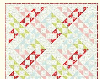"Bundle Up Quilt Pattern - Bonnie Olaveson - Cotton Way - Moda Fabric - Vintage Holiday Fabric - 72"" x 72"" Quilt"