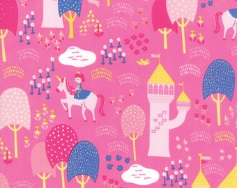 Once Upon A Time Fabric - Pink Palace Grounds Fabric - Stacy Iest Hsu - Moda Fabric - Princess Fabric - Castle Fabric - Sold by the Yard