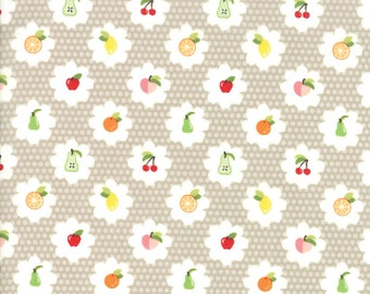 Orchard Fabric - Tan Fruit Grove Fabric - April Rosenthal - Moda Fabric - Fruit Fabric - Cherry Fabric - Sold by the Yard