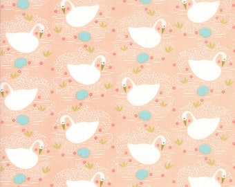 Enchanted - Peach Swan Fabric - Gingiber - Moda Fabrics - Sold by the Yard