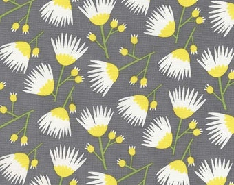Fat Quarter | Dark Grey Floral Fabric - Everglades Fabric - Betsy Siber