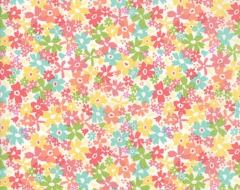 Sunnyside Up Fabric - White Floral Charming Fabric - Corey Yoder - Moda Fabrics - Floral Fabric - Flower Fabric - Sold by the Yard