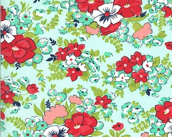 Aqua Meadow Fabric - Shine On Fabric - Bonnie and Camille - Moda Fabric - Flower Fabric - Floral Fabric - Sold by the Yard