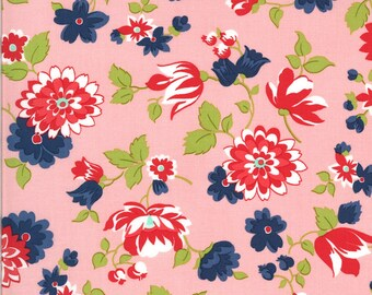 Pink Blossoms Floral Fabric - Shine On Fabric - Bonnie and Camille - Moda Fabric - Flower Fabric - Floral Fabric - Sold by the Yard