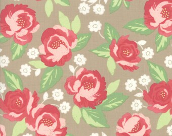 FAT EIGHTH | Tan Faded Floral Fabric - Bloomington - Lella Boutique - Moda Fabrics -  Flower Fabric