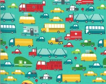 Aqua Beep Beep Fabric - On the Go - Stacy Iest Hsu - Moda Fabrics - Car Fabric - Boy Fabric - Truck Fabric - Sold by the Yard