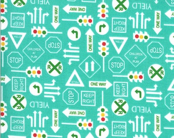 Aqua It's a Sign Fabric - On the Go - Stacy Iest Hsu - Moda Fabrics - Tractor Fabric - Construction Fabric - Sold by the Yard