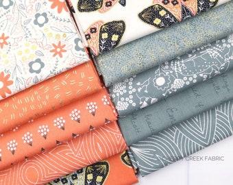 Dwell In Possibilities Sky & Poppy Fat Quarter Bundle - Gingiber - Moda Fabrics - Metallic Fabric - Moth Fabric - 10 pieces
