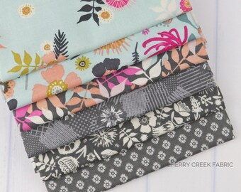 Meadow Lane Aqua & Gray Fat Quarter Bundle - Meadow Lane - Sara Davies - Riley Blake Designs - Flower Fabric - Floral Fabric - 6 pieces