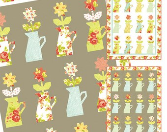 "Milk & Blossoms Quilt Pattern - Figtree and Co - Moda Fabric - Quilt Pattern - Flower Vase Quilt  Pattern - 45"" x 64"" Quilt"