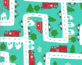 Aqua Five Alarm Fabric - On the Go - Stacy Iest Hsu - Moda Fabrics - Car Fabric - Boy Fabric - Truck Fabric - Sold by the Yard
