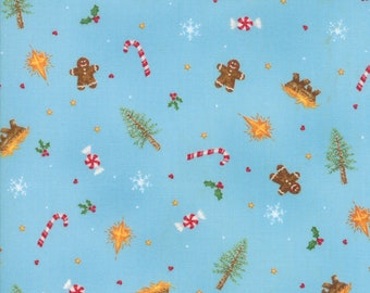 Good Tidings Fabric - Blue Ice Christmas Elements Fabric - Brenda Riddle - Moda Fabric - Christmas Fabric - Sold by the Yard