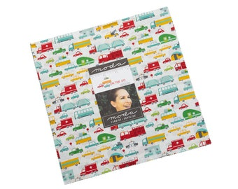 On the Go Layer Cake - Stacy Iest Hsu - Moda Fabrics - Car Fabric - Boy Fabric - Truck Fabric - 42 pieces