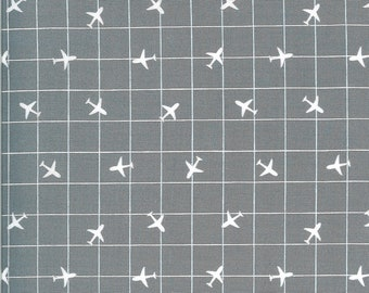 Gray Airplane Fabric - On the Go - Stacy Iest Hsu - Moda Fabrics - Transportation Fabric - Airplane Fabric - Sold by the Yard