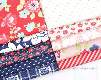 Shine On Red, Pink & Navy Fat Quarter Bundle - Shine On Fabric - Bonnie and Camille - Moda Fabric - Flower Fabric - 10 pieces