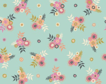 Mint Posies Fabric - Meadow Lane Fabric - Sara Davies - Riley Blake Designs - Flower Fabric - Floral Fabric - Sold by the Yard
