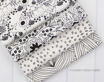 Dwell In Possibilities Black & White Fat Quarter Bundle - Gingiber - Moda Fabrics - Metallic Fabric - Low Volume Fabric - 4 pieces