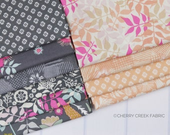 Meadow Lane Melon & Gray Fat Quarter Bundle - Meadow Lane - Sara Davies - Riley Blake Designs - Flower Fabric - Floral Fabric - 10 pieces