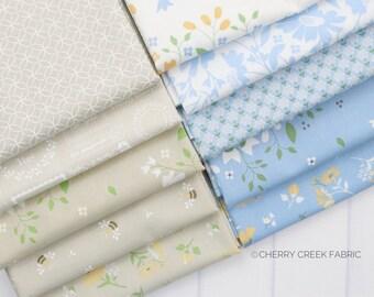 Spring Brook Tan & Blue Fat Quarter Bundle - Corey Yoder - Moda Fabrics - Floral Fabric - Fabric Bundle - 10 pieces