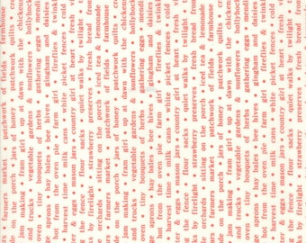 Farmhouse II Fabric - Red Country Text Fabric - Fig Tree & Co - Moda Fabric - Hounds tooth Fabric - Sold by the Yard