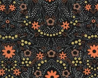 Black Full Bloom Fabric - Dwell In Possibilities - Gingiber - Moda Fabrics - Moth Fabric - Flower Fabric - Sold by the Yard