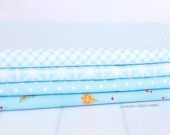 Good Tidings Blue One Yard Bundle - Brenda Riddle Designs - 4 pieces