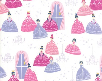 Once Upon A Time Fabric - White Grand Ball Fabric - Stacy Iest Hsu - Moda Fabric - Princess Fabric - Castle Fabric - Sold by the Yard