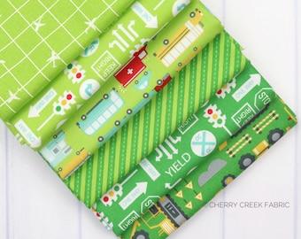 On the Go Green Fat Quarter - Stacy Iest Hsu - Moda Fabrics - Car Fabric - Boy Fabric - Truck Fabric - 6 pieces