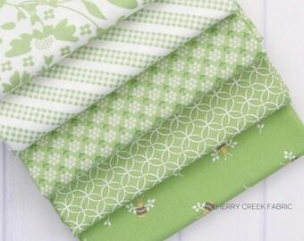 Spring Brook Green Fat Quarter Bundle - Corey Yoder - Moda Fabrics - Floral Fabric - Fabric Bundle - 5 pieces