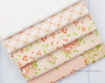 Apricot & Ash Peach Fat Quarter Bundle - Corey Yoder - Moda Fabrics - Fat Quarter Fabric - Floral Fabric - Flower Fabric - 5 pieces