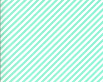 Aqua Stripe Fabric - Shine On Fabric - Bonnie and Camille - Moda Fabric - Binding Fabric - Bias Stripe Fabric - Sold by the Yard