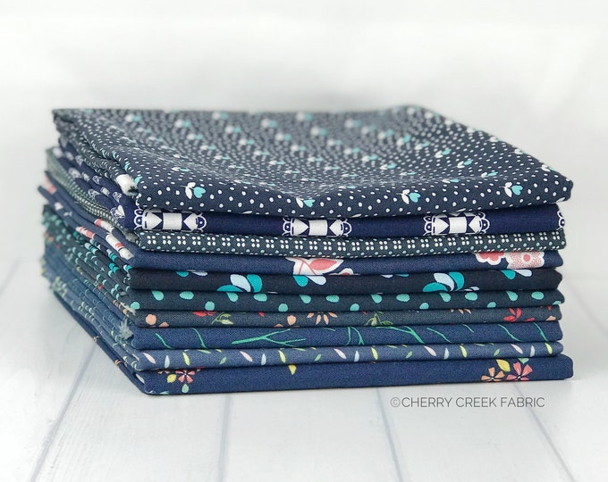 Featured listing image: Navy Half Yard Fabric Bundle - Moda Fabric & Riley Blake Designs - Blue Fabric Bundle - 10 pieces