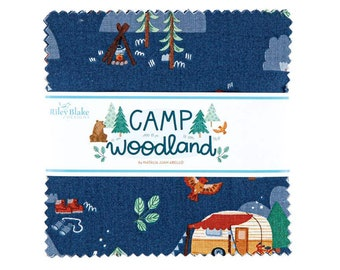 Camp Woodland Charm Pack - Natàlia Juan Abelló - Riley Blake Fabrics - Outdoor Fabric - Animal Bundle - Camping Fabric - 42 pieces
