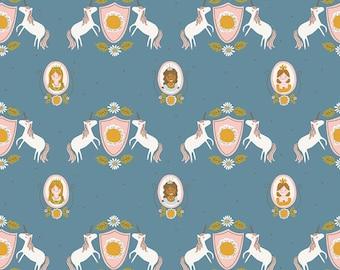 5 Yard Quilt Backing | Guinevere - Dark Blue Main Fabric - Citrus & Mint - Riley Blake Designs