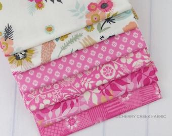Meadow Lane Pink Fat Quarter Bundle - Meadow Lane - Sara Davies - Riley Blake Designs - Flower Fabric - Floral Fabric - 6 pieces