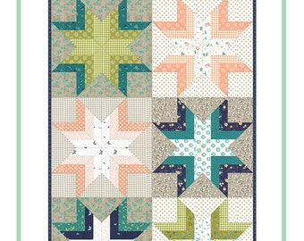 "Tanglewood Star Quilt Pattern - Shannon Gillman Orr - Moda Fabric Pattern - Jelly Roll Quilt Pattern - 48"" x 72"" Quilt"