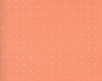 Apricot & Ash Fabric - Coral Dotty Plus Fabric - Corey Yoder - Moda Fabrics - Polka Dot Fabric - Gingham Fabric - Sold by the Yard