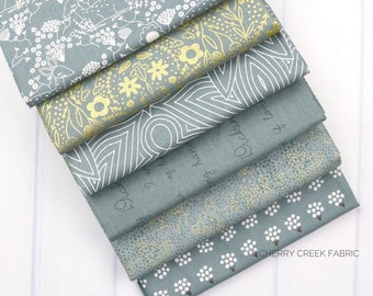 Dwell In Possibilities Sky Fat Quarter Bundle - Gingiber - Moda Fabrics - Metallic Fabric - Butterfly Fabric - Moth Fabric - 6 pieces