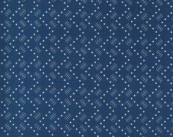 Navy Stroll Fabric - Flowers for Freya - Linzee McCray - Moda Fabrics - Square Fabric - Floral Fabric - Flower Fabric - Sold by the Yard