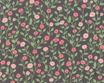 FAT QUARTER | Black Flower Vine Fabric - Bloomington Fabric - Lella Boutique - Moda Fabrics - Fabric Bundle - Flower Fabric