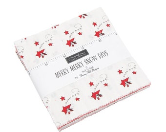 Merry Merry Sno Days Charm Pack - Bunny Hill Designs - Moda Fabric - Fabric Bundle - Moda Charm Pack - 42 pieces