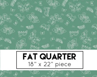 FAT QUARTER | Wild Bouquet Fabric - Green Moths Fabric - Citrus & Mint - Riley Blake Designs - Green Fabric - Butterfly Fabric