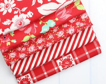 Shine On Red Fat Quarter Bundle - Shine On Fabric - Bonnie and Camille - Moda Fabric - Flower Fabric - 5 pieces