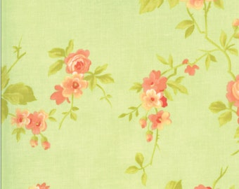 5 Yard Quilt Backing | Chantilly Fabric - Green Rose Fabric - Fig Tree & Co - Moda Fabric - Floral Fabric - Flower Fabric