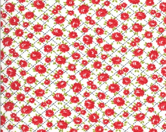 White Roses Fabric - Shine On Fabric - Bonnie and Camille - Moda Fabric - Flower Fabric - Floral Fabric - Sold by the Yard