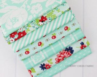 Shine On Aqua Fat Quarter Bundle - Shine On Fabric - Bonnie and Camille - Moda Fabric - Flower Fabric - 7 pieces