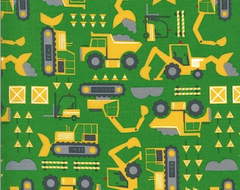Dark Green Let's Build Fabric - On the Go - Stacy Iest Hsu - Moda Fabrics - Tractor Fabric - Construction Fabric - Sold by the Yard