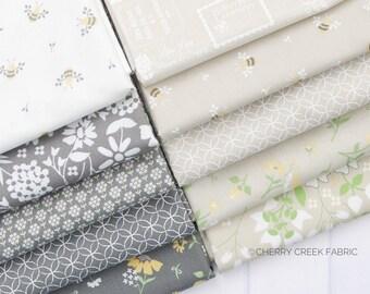 Spring Brook Tan & Gray Fat Quarter Bundle - Corey Yoder - Moda Fabrics - Floral Fabric - Fabric Bundle - 10 pieces