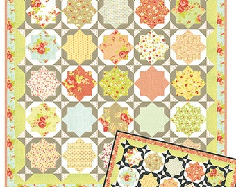 """Garden Gate Quilt Pattern - Figtree and Co - Moda Fabric - Quilt Pattern - Star Quilt Pattern - 72"""" x 72"""" Quilt"""